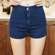 夏欧美高腰紧身包臀牛仔短裤女夏显瘦超弹力大码热裤薄款