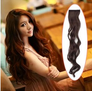 Beautiful wig hair long curly hair Two clip card big waves high temperature silk wig pills