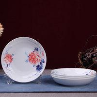 泥之歌  4头高档骨瓷餐盘-富贵争春(7.5寸饭盘)
