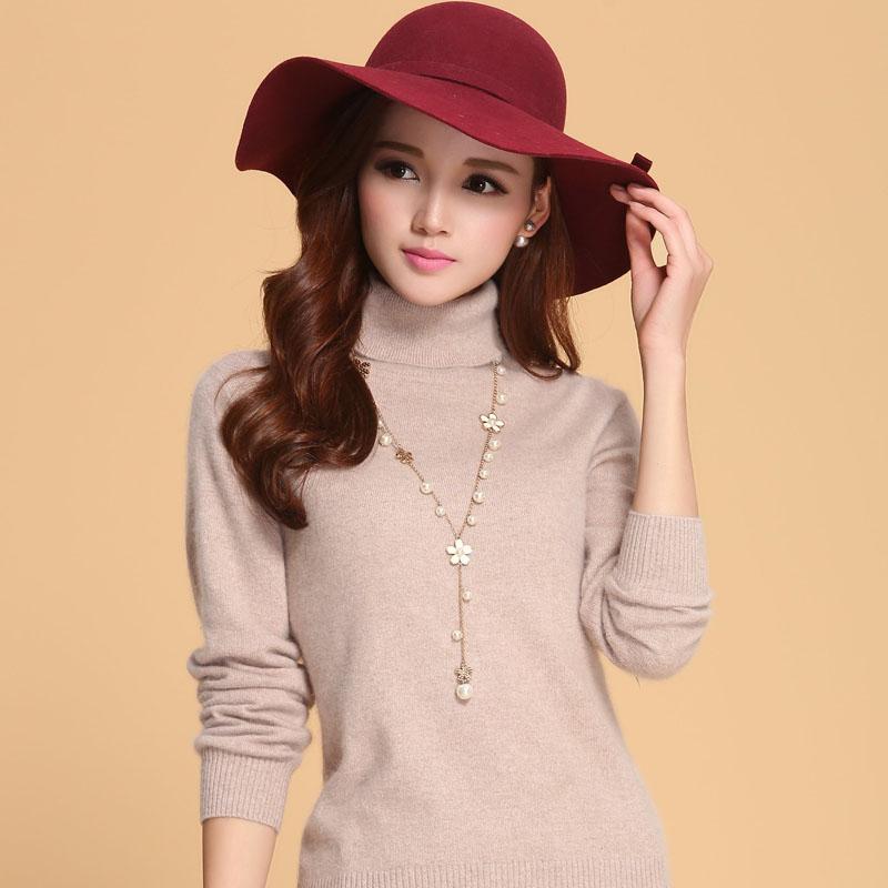 秋冬新款女士正品高领山羊绒衫修身打底衫纯色针织毛衣外套羊毛衫