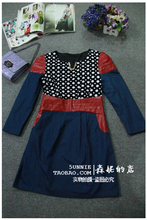 Sen ni shop wave dot dot flannelette splicing PU leather shoulder waist long sleeve denim pocket dress