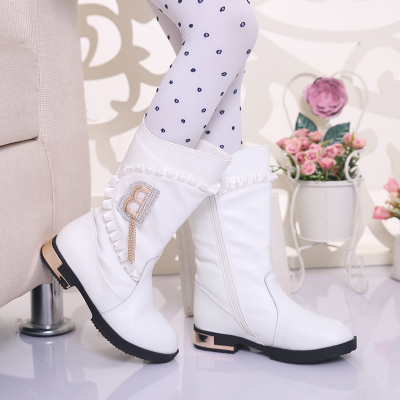 2014 new children's winter boots girls Princess padded leather boots Korean boots high boots