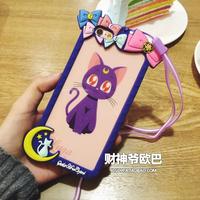 美少女战士iphone6s露娜猫边框手机壳6plus挂绳苹果6S可爱保护套