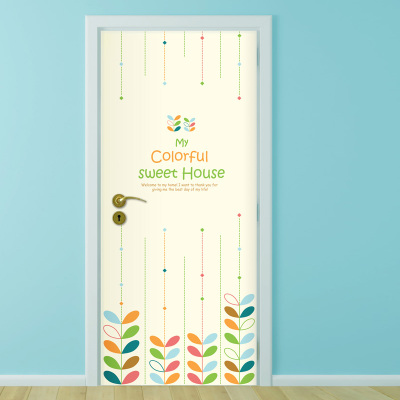 Scandinavian minimalist study door stickers creative self-adhesive decorative waterproof doors of refurbished bedroom sliding door sticker