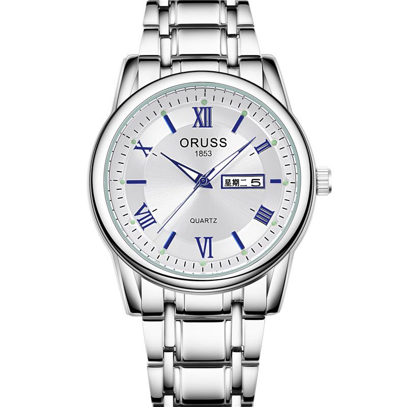 奥时奇男士机械手表_ORUSS 瑞士品牌正品男士手表防水钢带双日历石英表非机械表商务表