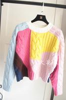 韩国东大门秋装新款复古麻花彩虹拼色撞色套头毛衣短款长袖厚毛衣