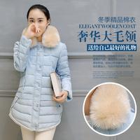 2015冬季新款韩版女装A字型外套棉服中长款大毛领羽绒棉衣欧洲站