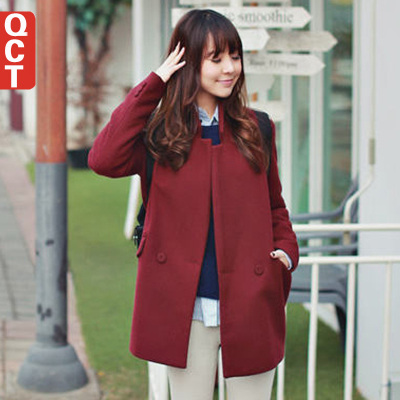 QCT 2014 fall and winter clothes new Korean Women Slim woolen coat big yards long section woolen jacket coat