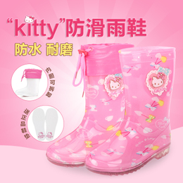 正品Hello Kitty雨鞋 儿童水鞋学生防滑保暖雨鞋加厚女童套鞋幼儿