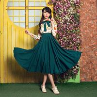 飘 蓓蕾 秋装新款印花长袖墨绿文艺连衣裙复古蝴蝶结假两件大摆裙