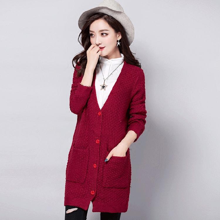 女毛衣外套_针织开衫女长袖百搭外套时尚女装开叉毛衣中长款秋冬气质外搭披肩