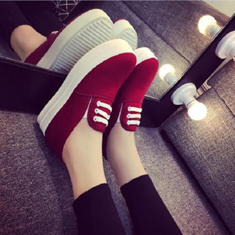 韩版懒人鞋一脚蹬女鞋红色帆布鞋女秋学生套脚厚底平底松糕鞋黑色