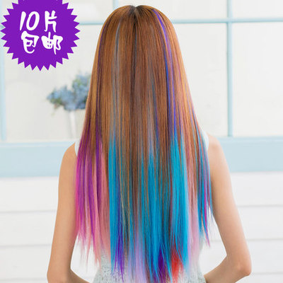 Color hair girl colored wigs pills Thickening highlights hair extensions Harajuku fluorescent color gradient straight hair