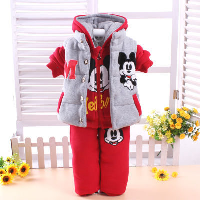 Infant winter coat sweater suit plus thick velvet 0-1-2 year old male baby girl three-piece baby clothing