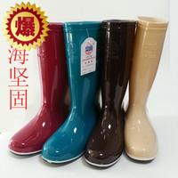 正品上海坚固时尚百搭长筒雨鞋女三色雨靴牛筋底高筒水鞋防滑耐磨