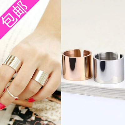 Sun with the money tail ring Korean version of the influx of people 18k rose gold titanium steel joint rings female controls Jun index finger ring jewelry