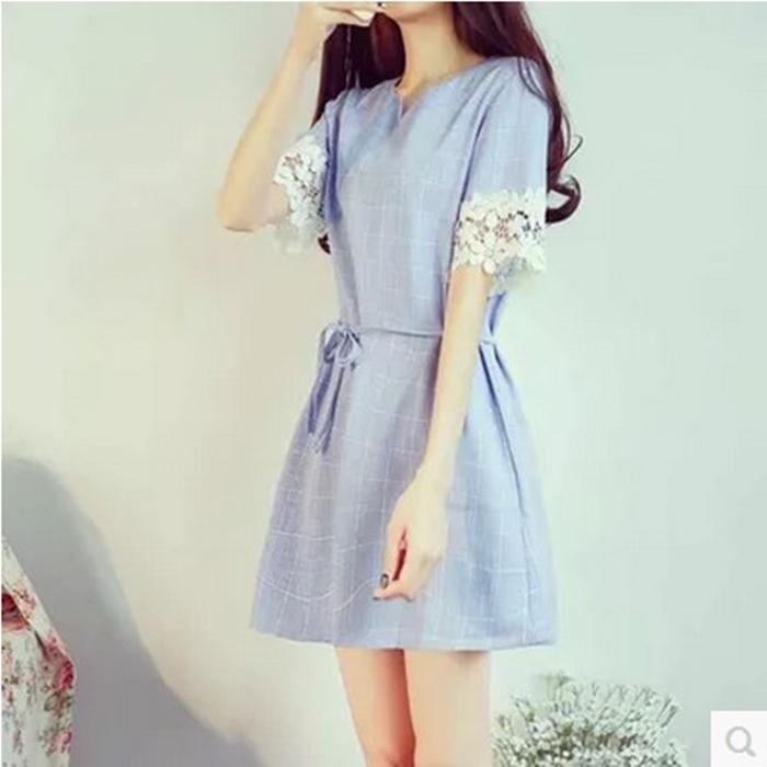 2015夏季新款韩版小清新蕾丝格纹棉麻短袖连衣裙女装收腰A字裙子