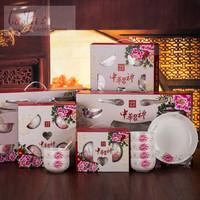 促销商务青花瓷碗批发礼品碗套装会销礼品骨瓷餐具礼品礼盒装