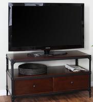 美式复古铁艺实木电视柜 创意双抽屉客厅家具 金属原木柜子 边柜