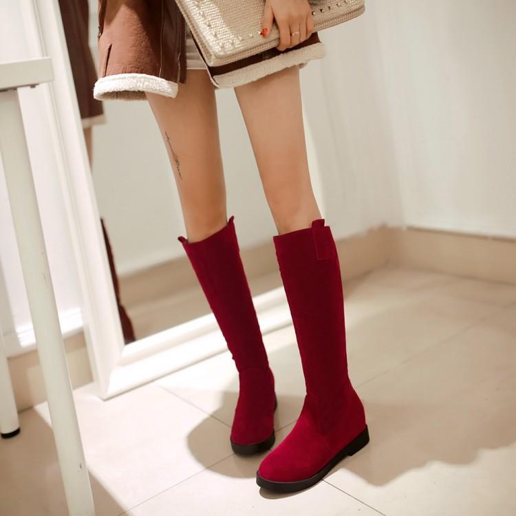 春秋冬新款休闲女内增高靴长筒靴 平跟高筒靴套筒雪地靴大码靴子