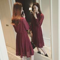 2016春装新款蝴蝶结系带领长袖镂空蕾丝连衣裙修身显瘦女长裙