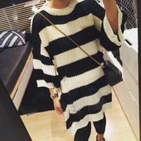 韩国韩版宽松蝙蝠袖条纹中长款套头毛衣 破洞针织衫粗针毛衣女潮