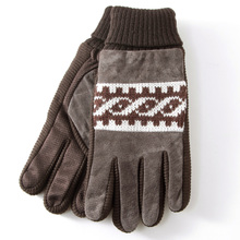 Treasure ze male More add wool gloves in winter Pigskin wool driving gloves Non-slip warm motorcycle gloves