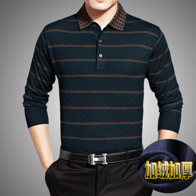Winter middle-aged men long sleeve t-shirt plus thick velvet lapel wool striped knit T-shirt T-shirt bottoming T blood