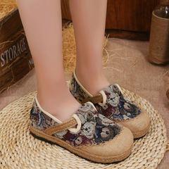 女学生卡通单鞋民族风手工编织布鞋泰国亚麻圆头学院风帆布鞋