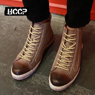 林弯弯 男 潮 鞋子_男靴子韩版潮流短靴男士短筒靴子发型师皮靴子林弯弯潮靴高帮潮鞋