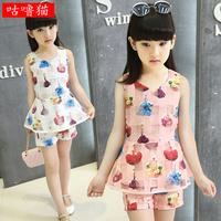 女童夏装套装2015新款欧根纱无袖上衣短裤韩版两件10岁女孩童装潮