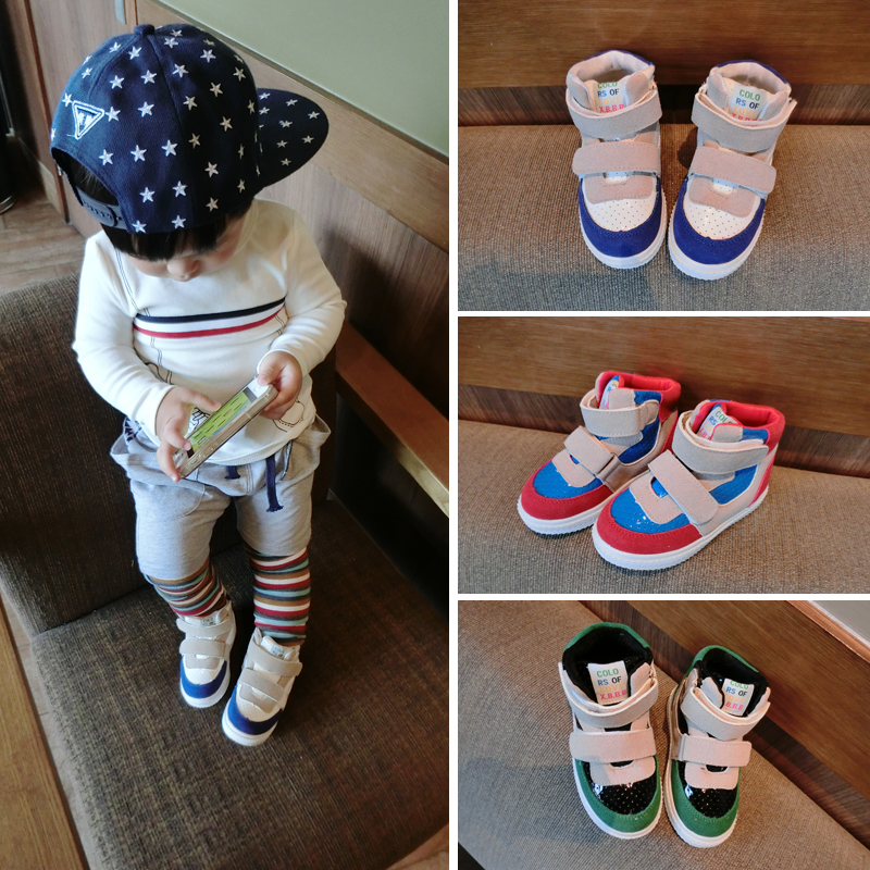 2014 autumn children's shoes high-top sneakers for men and women baby magic button shoes sports shoes casual shoes shoes
