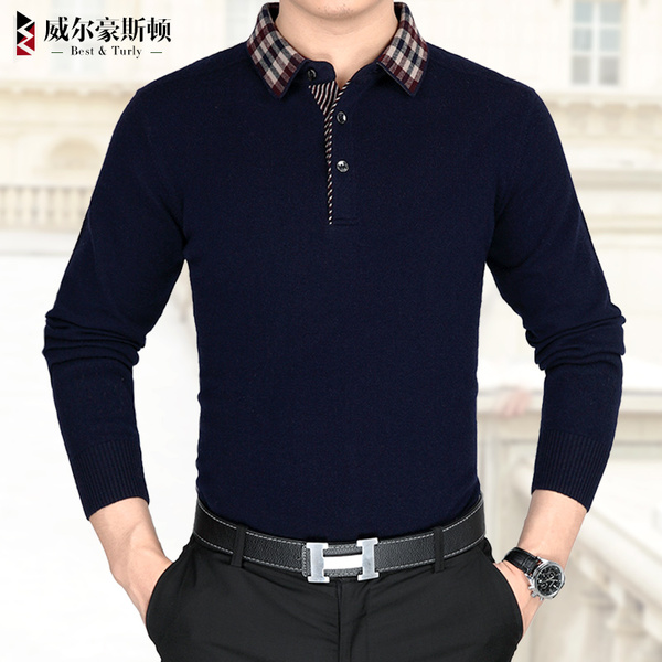 100% pure wool sweater collar middle-aged men and thick sweaters warm winter sweater null Will Houston