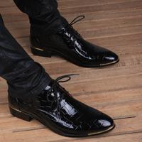 春季新款品牌皮鞋男尖头真皮结婚青年内增高6cm商务休闲黑色包邮