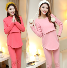 Pure cotton qiu dong outfit maternity fashion with velvet thickening breastfeeding clothing pajamas confined thermal underwear two suits