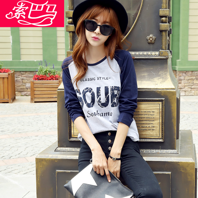 2016春款新款韩版宽松长袖T恤女纯棉印花大码女装上衣学生打底衫