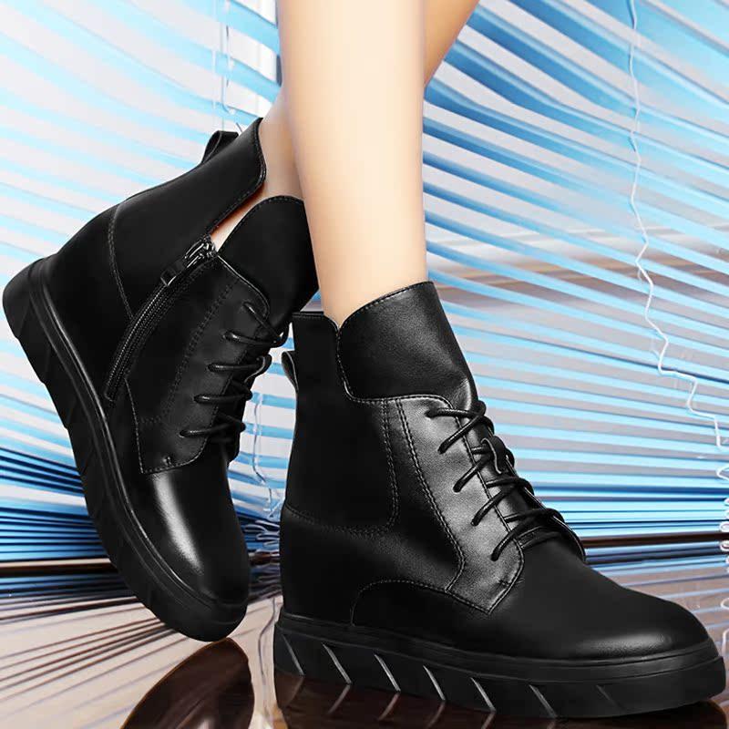 平底短靴女真皮马丁靴女英伦风百搭短筒女靴子2016新款秋冬季女鞋