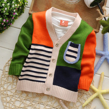 The 6-7-8-9-10 months baby sweater cardigan for men and women baby children's wear the spring and autumn period and the 1-2-3 - year - old wool clothes wet