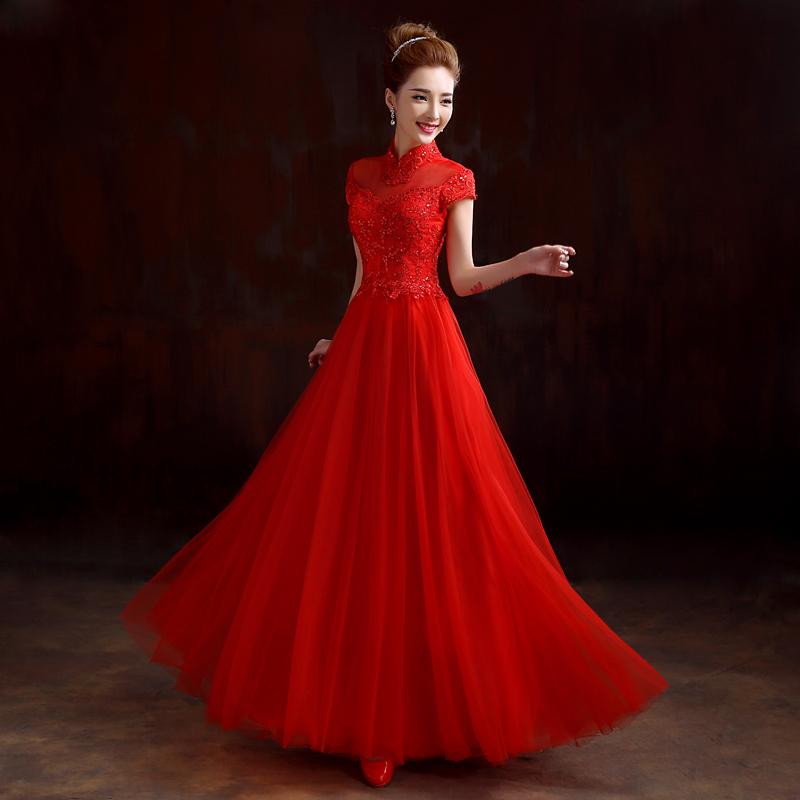 敬酒服新娘2015新款春时尚短款一字肩红色女士结婚礼服长款修身夏