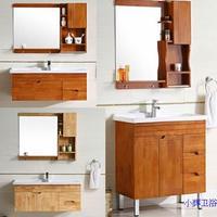 橡木浴室柜组合 原木色橡木色吊柜落地洗手台盆柜洗脸池橡木原木