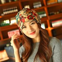 韩版秋冬花朵围脖帽子女士头巾纯棉三用套头帽时尚头巾帽月子帽