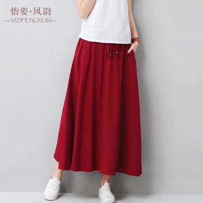 显瘦大码A字棉麻半身长裙
