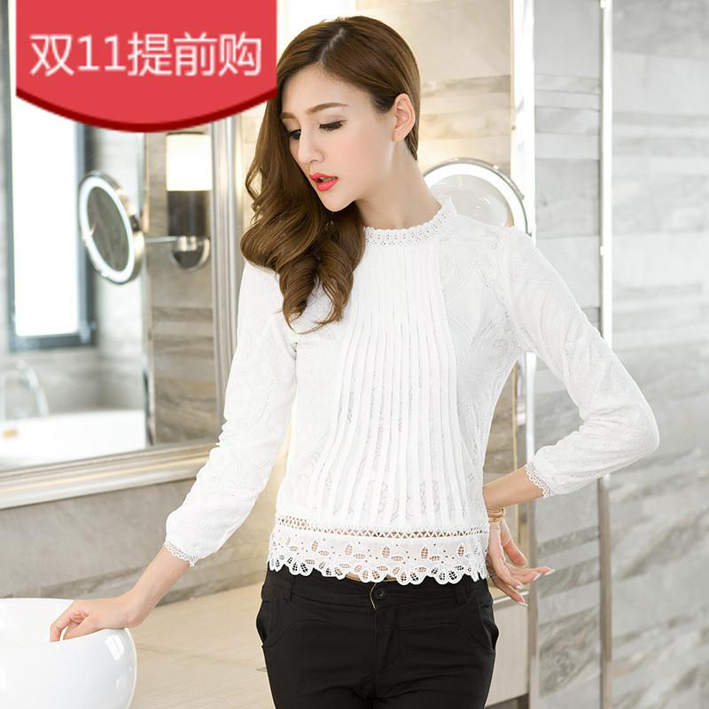 巴掌家2015冬季新款 韩版时尚长袖半高领女蕾丝上衣小衫打底衫