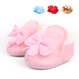 0-1 -year-old men and women fall and winter baby warm cotton footwear slip baby toddler shoes soft bottom bow