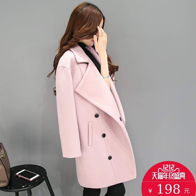 2016秋冬装新款女装中长款双排扣宽松大码茧型呢大衣女式毛呢外套