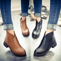 英伦时尚潮女2015春季新款单鞋韩版圆头学院风范低跟方跟女士女鞋