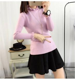 2015秋冬新款韩版毛衣假两件套短款衬衣领修身打底针织衫女潮学生