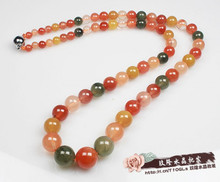 Natural fu lu shou crystal necklace More red, yellow, green color hair crystal chain round pearl tower lady sent to mom