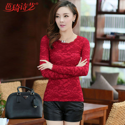 Plus thick velvet autumn and winter 2014 new Korean version of the long section of lace long-sleeved lace shirt bottoming shirt t-shirt tide big yards