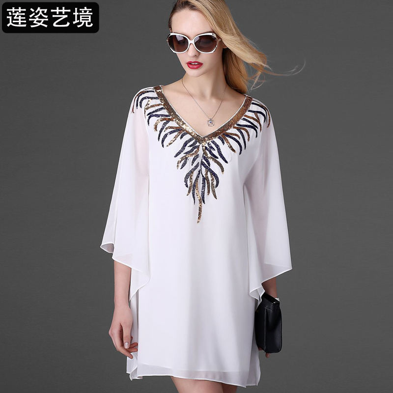 The new summer 2015 The European and American high-end embroidered bat chiffon shirt dress